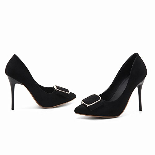 Mee Shoes Damen Stiletto Nubuck runde Pumps Schwarz