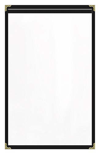 Risch TES 8.5X14 DSC #02 BLACK THREAD, Pack of 24, Deluxe Sewn Menu Covers, Café Style, Single Panel 2 View, Binding with Black thread, All Clear