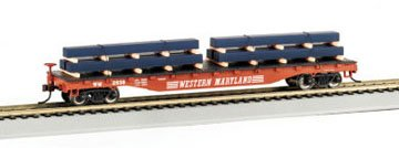 (Bachmann HO Scale Flat Car with Steel Load (Western Maryland))