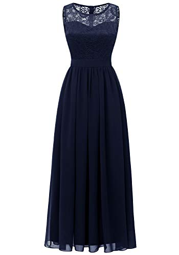 Dressystar 0046 Lace Chiffon Bridesmaid Dress Sleeveless Formal Wedding Party Dress Navy M