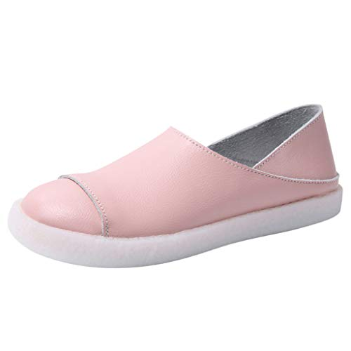 Women's Peas Shoes-Ladies Two Ways of Wearing Shoes Leather Slip On Flat Shoes Solid Color Soft Loafers Sneakers (Best Sites For Cyber Monday)