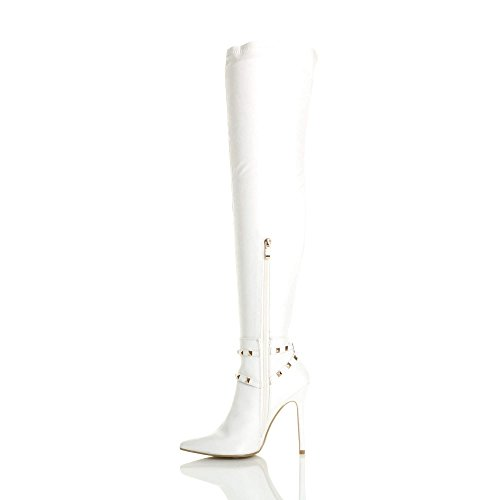 The Stirrup Studded high Thigh Size Ladies White Knee Over Womens Pointed Ajvani Matte Boots Heel fp0AAq
