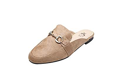 Ashley A (LEILA-10 Womens Mule Slip On Loafer Slides Flats Shoes,S.NUDE5.5