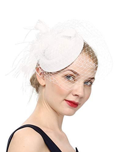 Fascinators Hats 20s 50s Hat Pillbox Hat Cocktail Tea Party Headwear with Veil for Girls and Women(B-White)]()