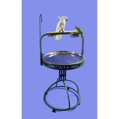 Deluxe Bird Play Stand with Wood Perch Color: Platinum