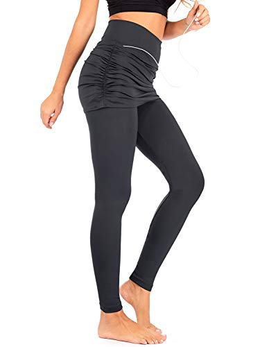 - DEAR SPARKLE Skirted Leggings for Women | Yoga Tennis Golf Pants with Gathered Skirt Pockets + Plus Size (S10) (Dark Grey, 3X-Large)