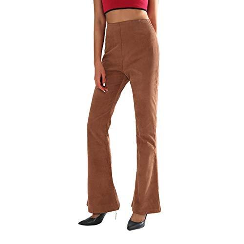 Women Dress Pants Corduroy Skinny Flare Retro High Waist Bell Bottom Stretch Pants Trousers Memela (Coffee, L)