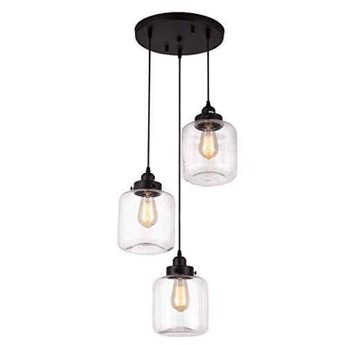 Pendant Light with Transparent Glass Lampshade Matte Black 3-Lights Pendant Lighting Adjustable, Industrial Retro Style, Hanging Light Fixture for Home, Kitchen Island, Dining Room, Foyer, Farmhouse