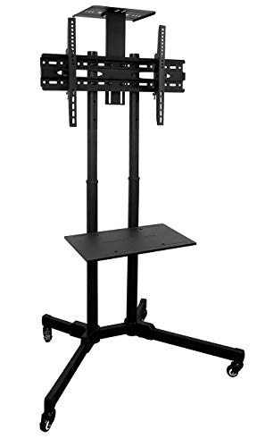 Mount-It! MI-876 TV Cart Mobile TV Stand Wheeled Height Adjustable Flat Screen Television Stands with Rolling Casters and Shelf, VESA Compatible TV Mount Bracket Fits Displays 37 to 70 Inch, 110 Lbs (Time Purpose Electronic Multi Recorder)