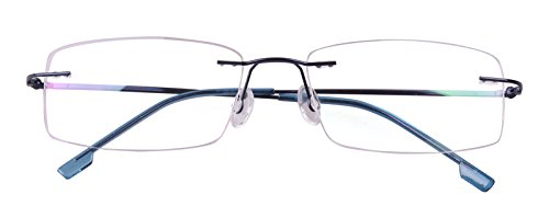 Agstum Titanium Alloy Flexible Rimless Hinged Frame Prescription Eyeglasses Rx (Blue