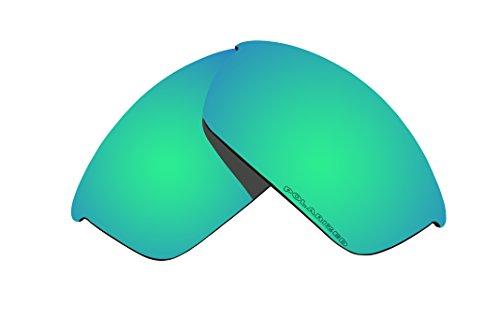 (BVANQ Polarized Lenses Replacement for Oakley Flak Jacket Sunglasses Emerald Green Mirror Coatings)