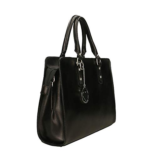 En Cm 36x27x11 Borse Made Genuina In Italy Bolso Negro Maletín Chicca Piel wCqvtw7
