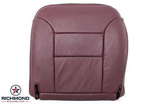 Richmond Auto Upholstery 1995 1996 1997 1998 1999 GMC Sierra 1500 Z71 SLT 4X4 - Driver Side Bottom Replacement Genuine Leather Seat Cover, Burgundy Maroon Ruby Red