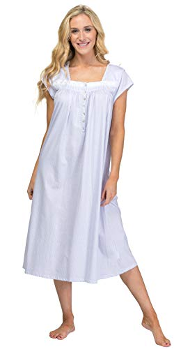 (Eileen West Cotton Knit Cap Sleeve Nightgown - Bayberry Element (White/Geo Print, Large))