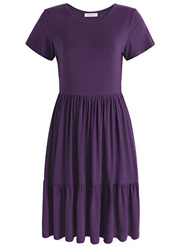 Weintee Women's Swing Casual Dress Tiered Knee Length Dress XL Purple