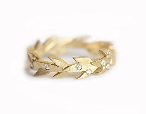 Vine Wedding Band, Vine Wedding Ring, Diamond Vine Band, Diamond Eternity Ring, Gold Leaf Band, Diamond Leaf Band, Nature Inspired ring