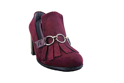 decoltè Made Vernice frangia Bordeaux Donna Italy Camoscio Scarpe Fashion 7wCxwFqOE