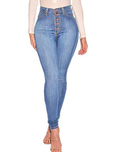 Jeans Bleu Taille S Taille Fit Haute Jeans XXL 5 Pantalon SOMTHRON Sexy Jeans Femmes Denim Clair Boutons Slim Haute OqpXttTZ