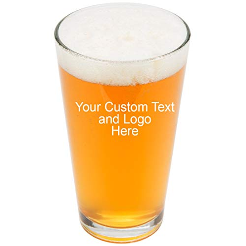 ANY TEXT, Custom Customized Engraved DOUBLE SIDED Pint Glasses for Beer, 16 oz Stein - Personalized Laser Engraved Text Customizable Gift (Double Side Engraving) ()
