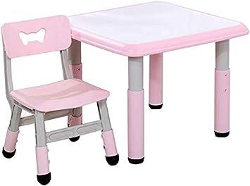 CTC Juego de mesa y silla para niños/niños, mesas y sillas de estudio de plástico ajustables para jardín de infantes, mesas y sillas de comedor, jardines interiores y exteriores/Rosa: Amazon.es: Bricolaje y