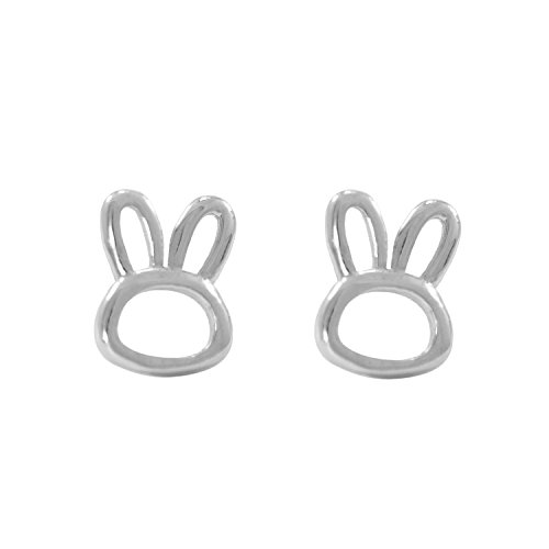 Paialco Sterling Silver Dainty Bunny Rabbit Ears Earring Studs for Girls, White Rhodium Plating