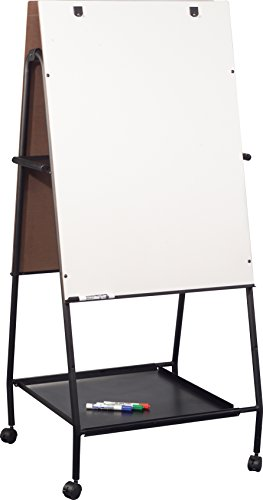 Best-Rite Mobile Folding Wheasel with Tray, Double Sided Whiteboard Easel (778OT) by MooreCo