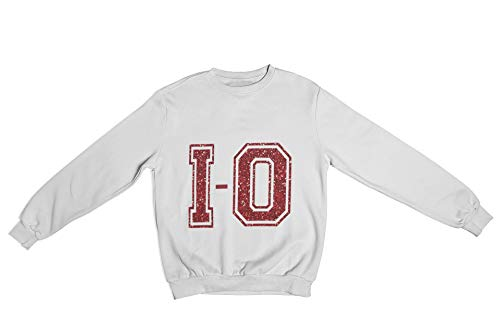 Oaiden Shimmer Collection I-O Crewneck Sweatshirt Unisex (White/Red, Extra Small)