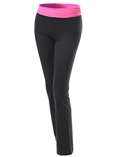 UPC 887287085988, Xpril Straight Fit Full Length Color Contrast Waistband Yoga Pants Pink Black L