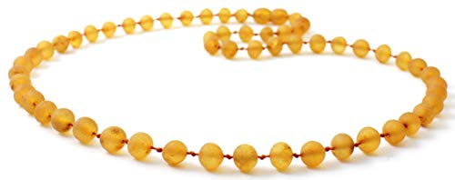 Unpolished Baltic Amber Necklace - Adult Size (Women and Men) - 19.5 inches (50 cm) - Honey Color - Raw Baltic Amber Beads - BoutiqueAmber (Honey, 19.5 inches)