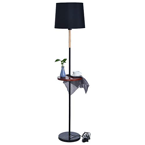 Ama-store Standing Light with LED Bulb, Modern Floor Lamp for Living Room, Bedroom, Office, Pole Lamp Standing Beside Couch or Bed (Black)