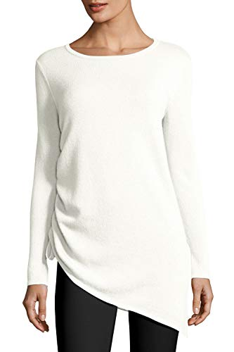 Pink Queen Women's Round Neck Soft Knit Pullover Tunic Sweater White Size XL