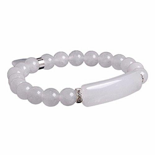 Natural White Quartz Gem Semi Precious Gemstone Love Heart Charm Stretch Bracelet
