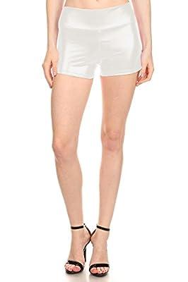 Simlu Womens Sexy Shiny Metallic Wet Loook Mini Booty Made in USA Hot Pants Shorts