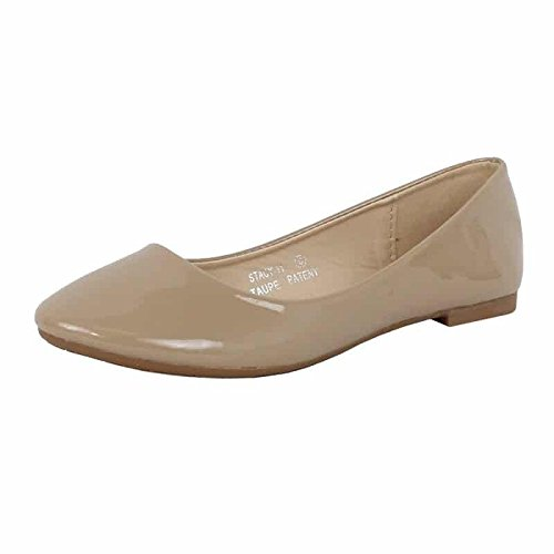 Bella Marie Stacy-11 Women's Round Toe Ballet Flat Shoes,Taupe,7