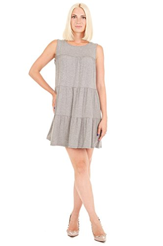 Jersey Baby Doll Dress - Tiana B Women's Sleeveless Casual Tiered Baby Doll Like Knit Dress Grey S