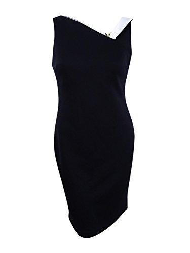 Calvin Klein Women's Sleeveless Scuba Sheath Dress with Color Blocked Neckline, Black/Cream, 12 -