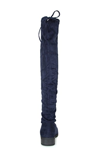 Lace Navy Knee Tie High Up Womens Over Thick Drawstring Chunky Boots Heel Link Forever qZ0fOO