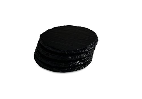 Renee Redesigns Handmade Black Gloss Slate Stone Coasters For Drinks | Protect Your Table Tops From Drink Rings and Spills | Unique 4-Piece Holiday Gift Set, Round - 4 x ()