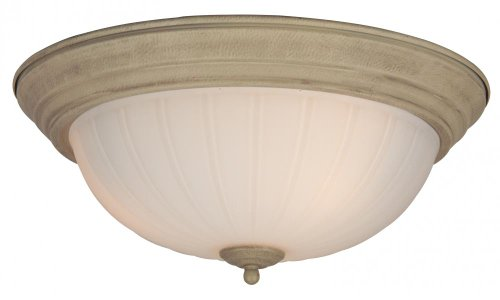 Melon Glass Collection - Craftmade X115-OB Bowl Flush Mount Light with Frosted Melon Glass Shades, Oiled Bronze Finish