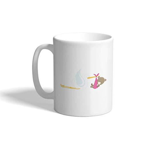 Custom Funny Coffee Mug Coffee Cup Baby Bear Stork Girl White Ceramic Tea Cup 11 OZ Design Only