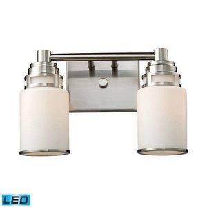 ELK 11265/2-LED, Bryant Glass Wall Vanity Lighting, 2 Light LED, Satin Nickel