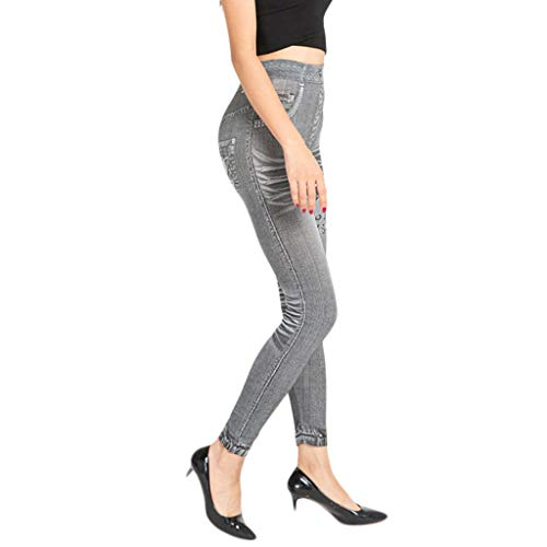 Ladies Simulated Jeans with Hip Lift and Stretch Under Pants Dark Gray -
