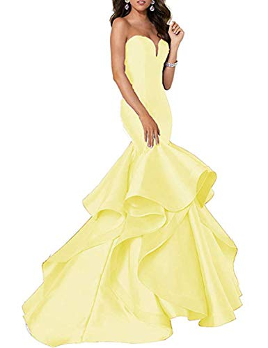 (Scarisee Women's Sweetheart Mermaid Prom Evening Dresses Tiered Formal Celebrity Party Gowns Sweep Train Yellow 10)