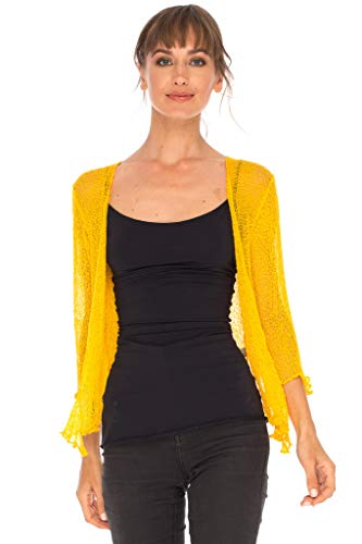 (SHU-SHI Womens Sheer Shrug Tie Top Cardigan Lightweight Knit One Size 2-12 Yellow)