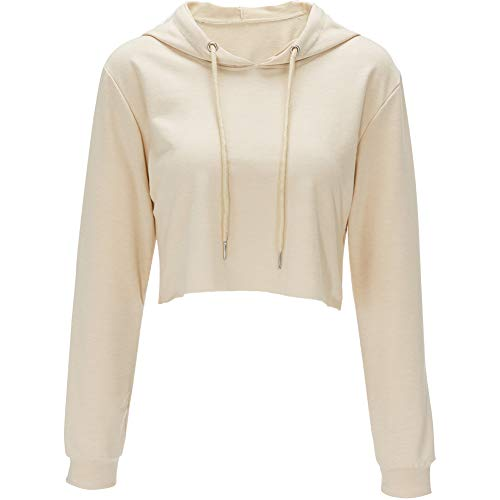 Hoodies for Women Workout Crop Top Hoodie Hooded Pullover Sweatshirt (Apricot, L) - Hooded Top