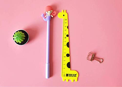 Gydthdeix 10 Pcs 0.5mm Newest Novelty Cute Kawaii Mermaid Fish Girl Black Ballpoint Writing Pen Set Plastic Creative Gel Ink Pens for Office School Children Gift Stationery Supplies Set