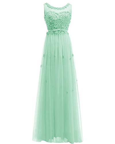 Gown Handmade Women ASBridal Bridesmaid s Tulle Evening Long Prom Flowers Mint Dress Dress OgwfOzq