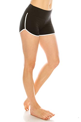 Junior High Fashion - ALWAYS Women Riverdale Merchandise Shorts - Premium Buttery Soft Stretch Dolphin Yoga Workout Cheerleader Dance Volleyball Short Pants with Stripes Black White S