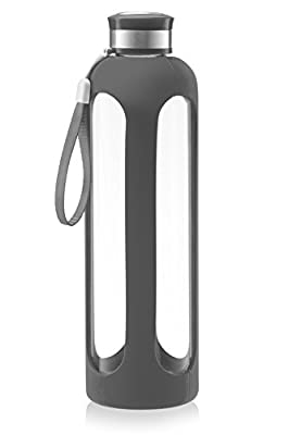 SWIG SAVVY Glass Water Bottle – 20oz/32oz Break-resistant Borosilicate Glass + Silicone Protective Sleeve. BPA-Free Durable & Stylish.