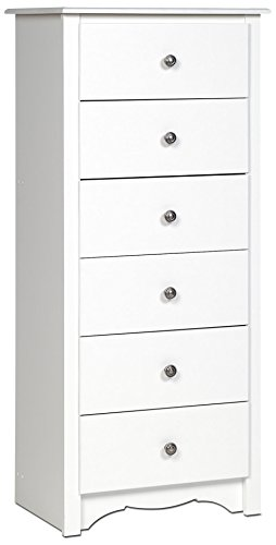White Monterey Tall 6 Drawer Chest (White Drawers Small)